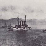 Lodě vzbouřenců Gäa (vlevo) a St. Georg (uprostřed)